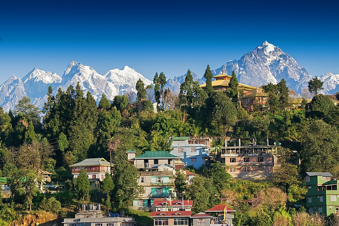 The Indian town of Rinchenpong, Sikkim, is seen here in the Himalayans.