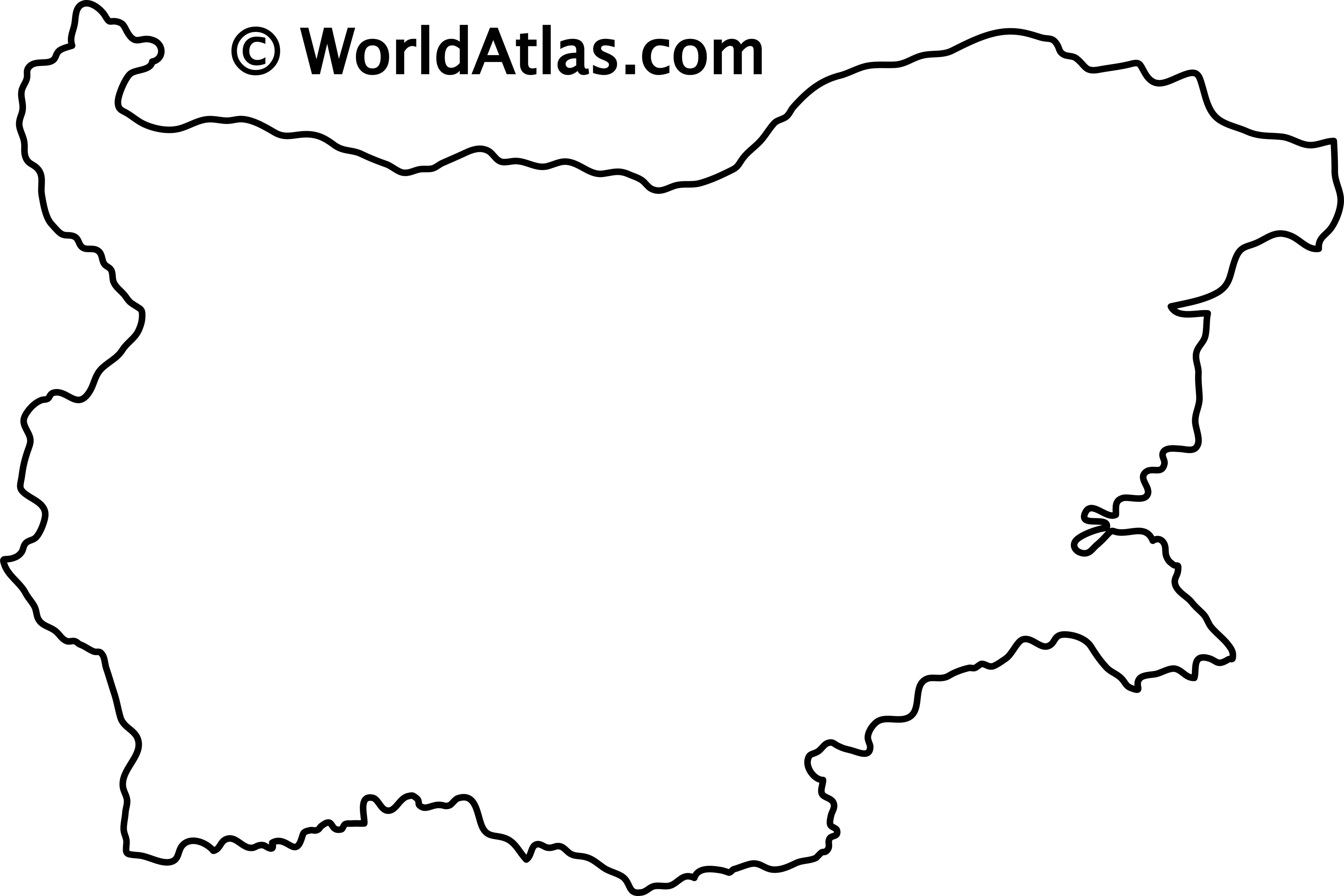 Blank Outline Map of Bulgaria