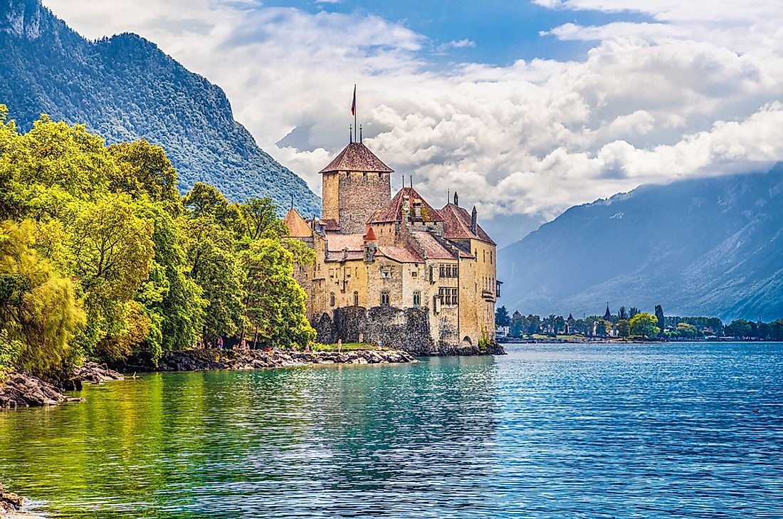 The Chateau de Chillon on Lake Geneva is a major landmark in Switzerland.