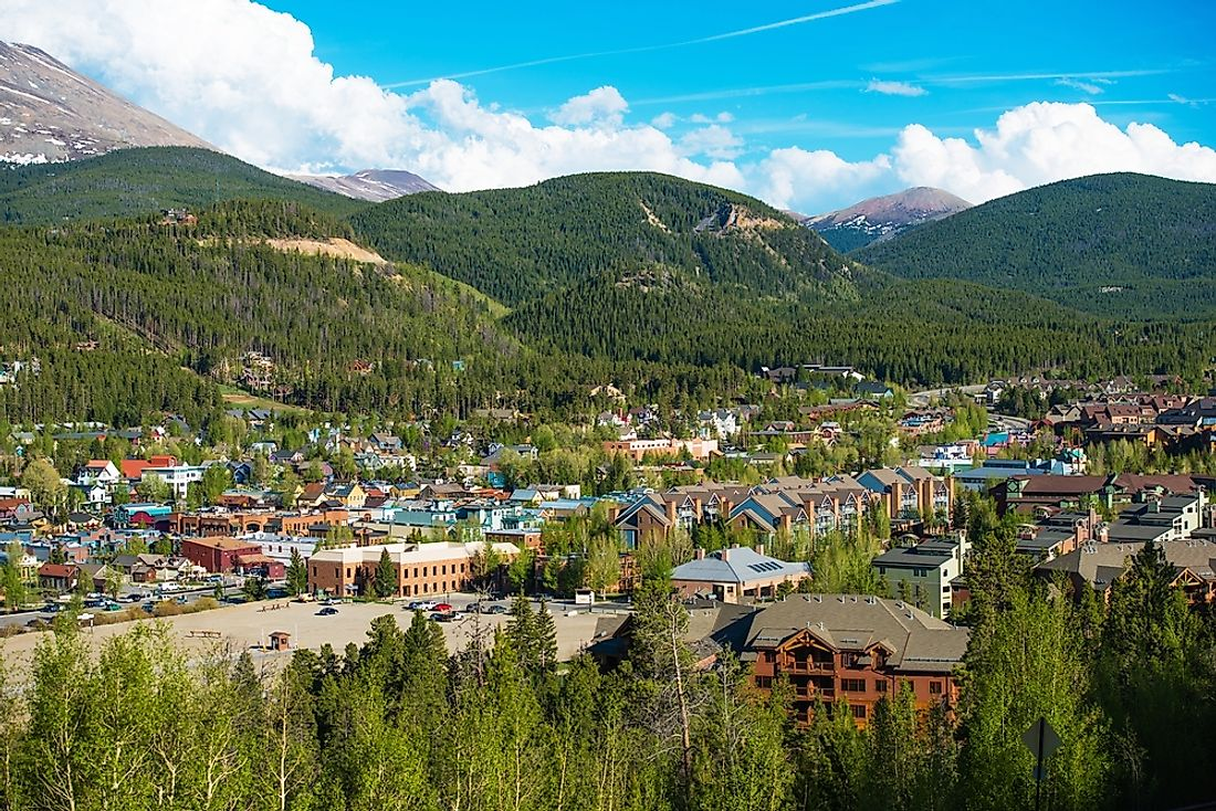 The town of Breckenridge, Colorado is nestled in the Rocky Mountains.