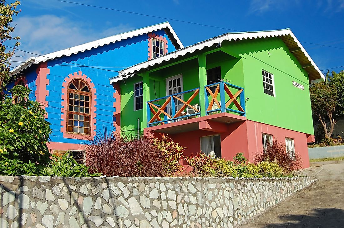 A colorful church in Saint Vincent and the Grenadines.