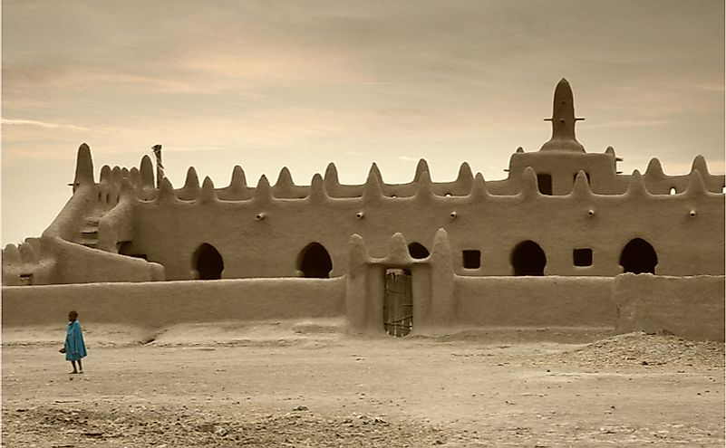 Mali, Djenne, impressive mosques built entirely of clay in West Africa. Editorial credit: robertonencini / Shutterstock.com