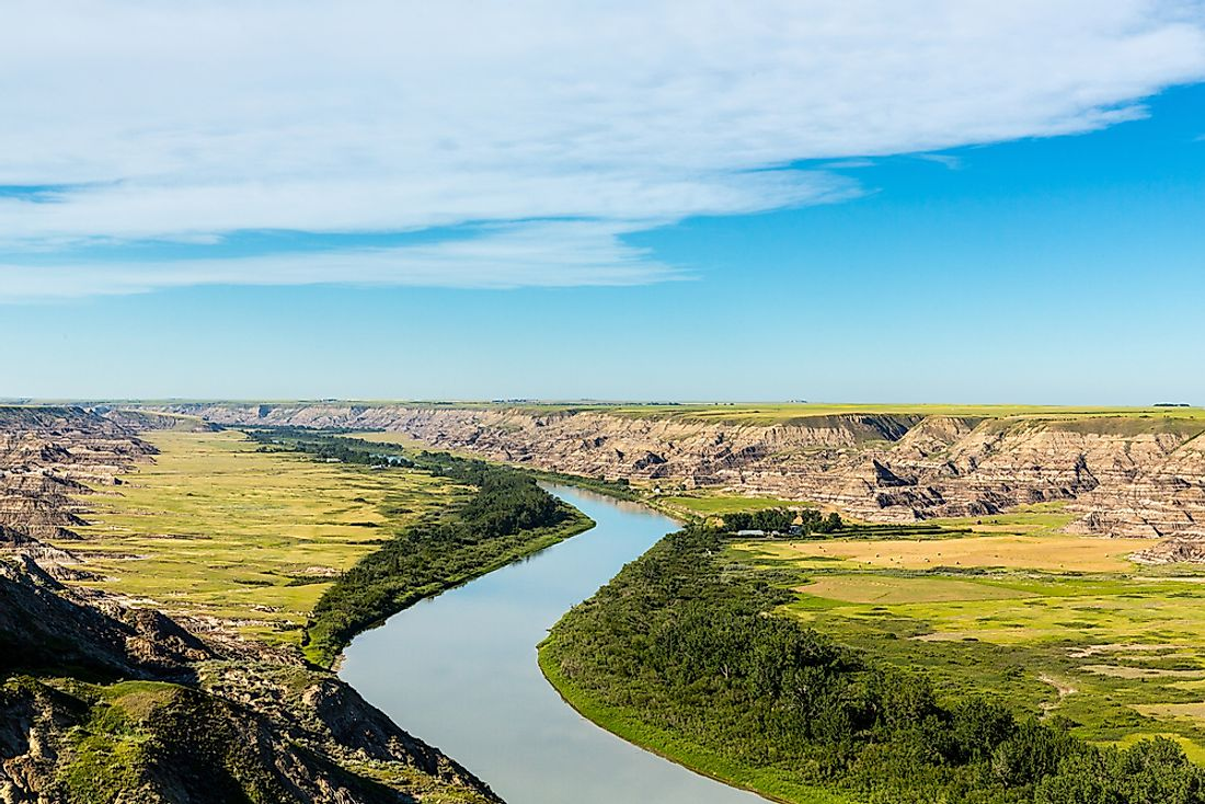 Red Deer River running through the Alberta Badlands, near the Badlands Guardian.