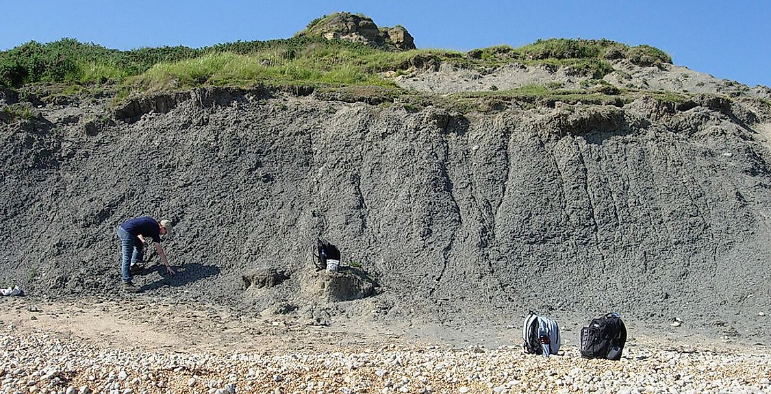 Oxford Clay (Jurassic) exposed near Weymouth, England.