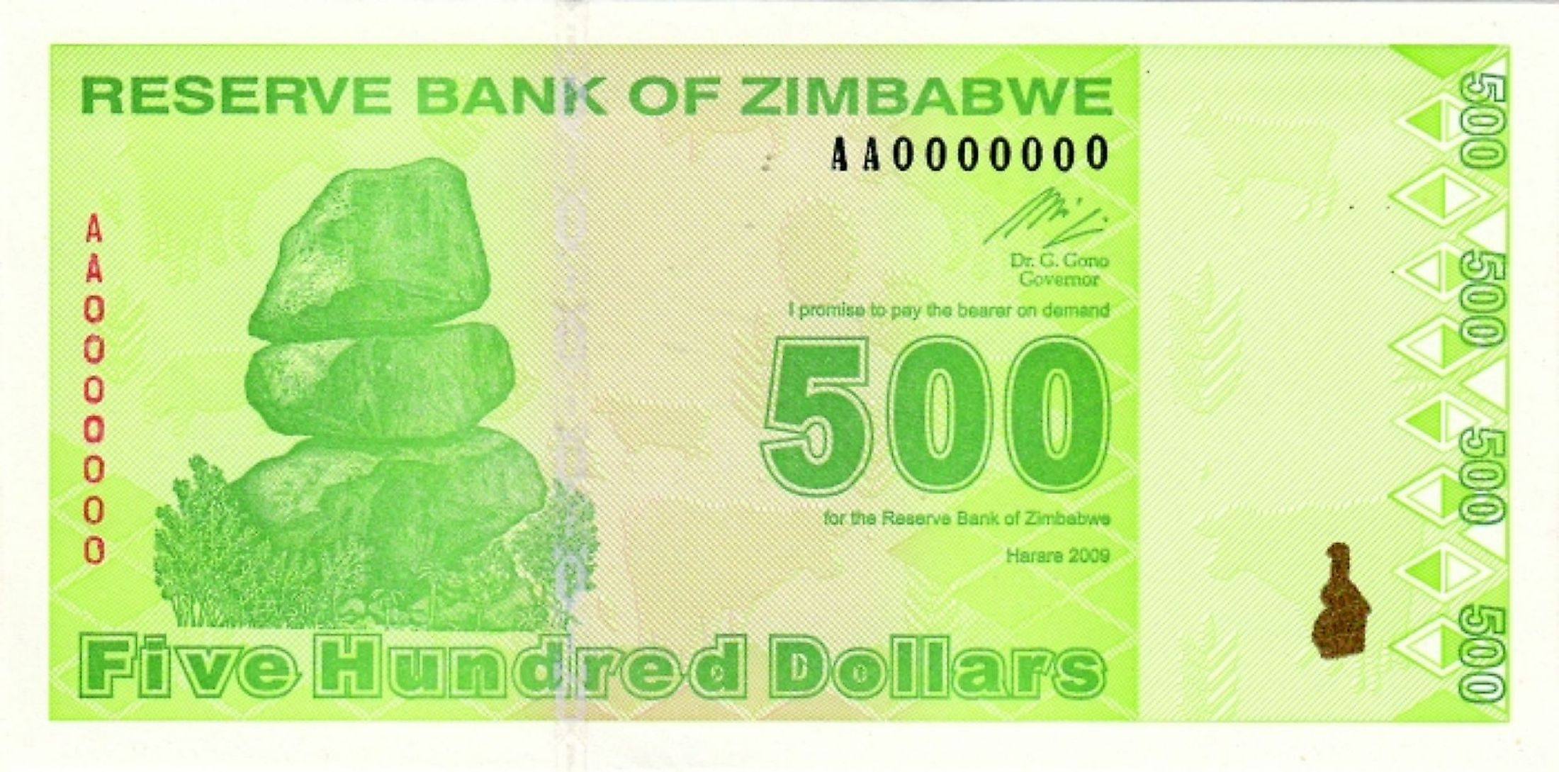 Hyperinflation caused Zimbabwe to abandon usage of the Zimbabwean Dollar in 2009.