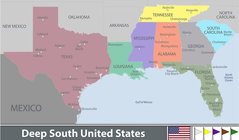 A map showing one interpretation of the Deep South.
