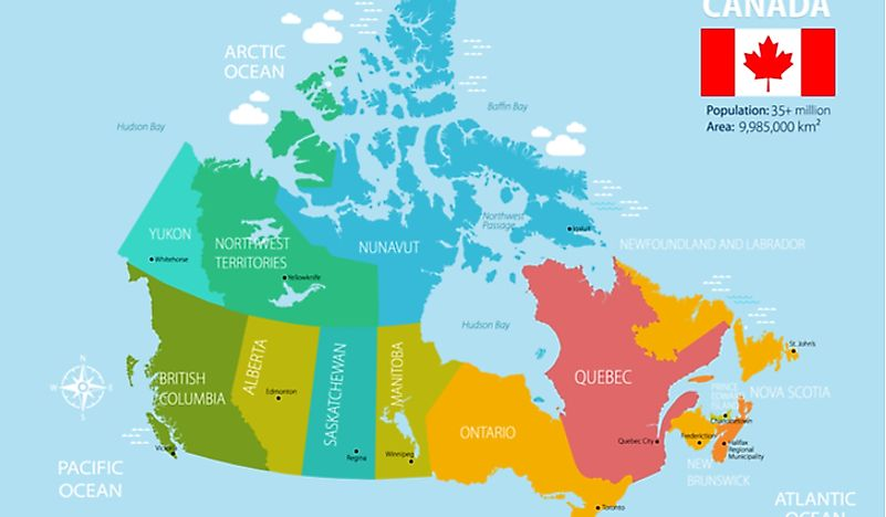 The provinces of Canada are organized into regions.