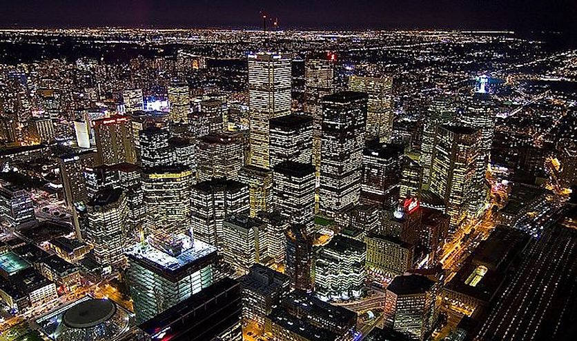 A view of the financial district of Toronto, Ontario, the most populous city in Canada.