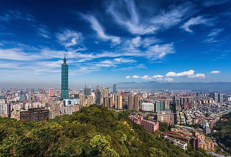 The Taipei skyline rises to dominate this area in northern Taiwan.