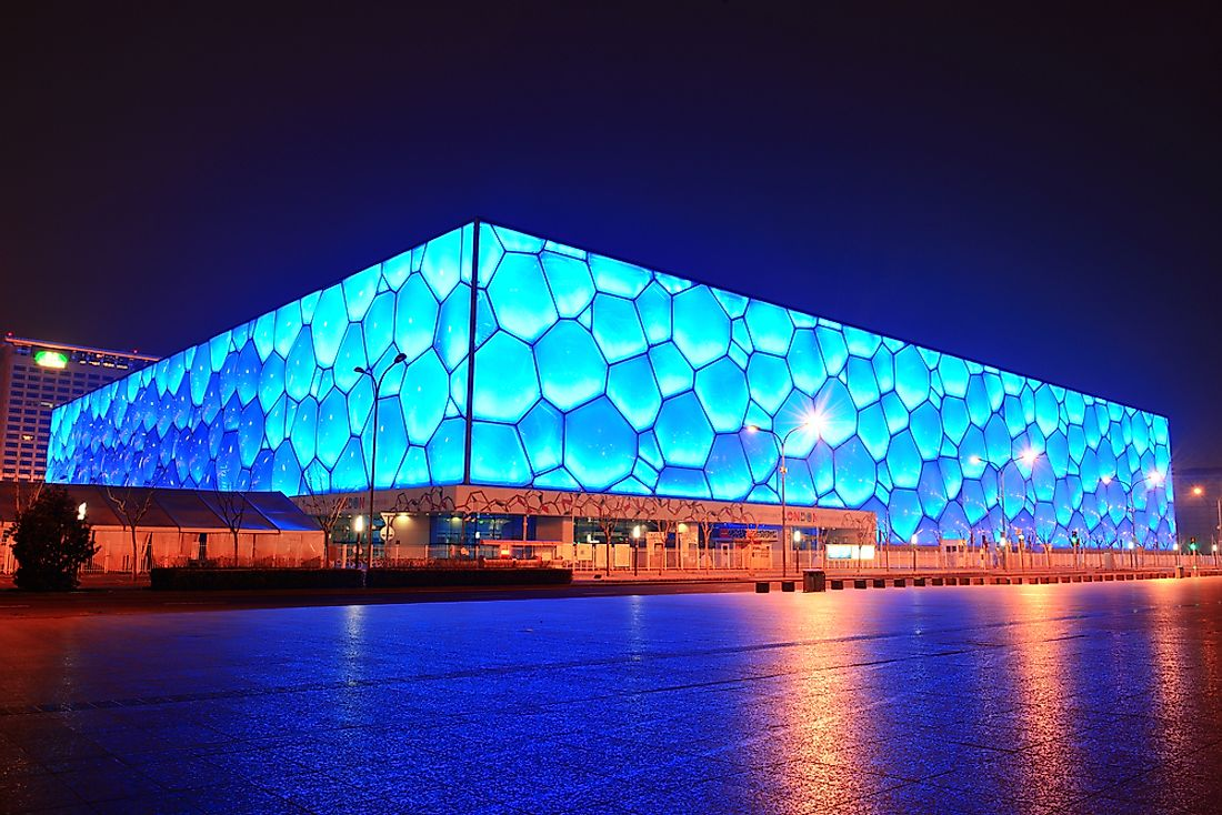 "The Beijing National Aquatics Center, dubbed ""The Water Cube"". Editorial credit: Songquan Deng / Shutterstock.com."
