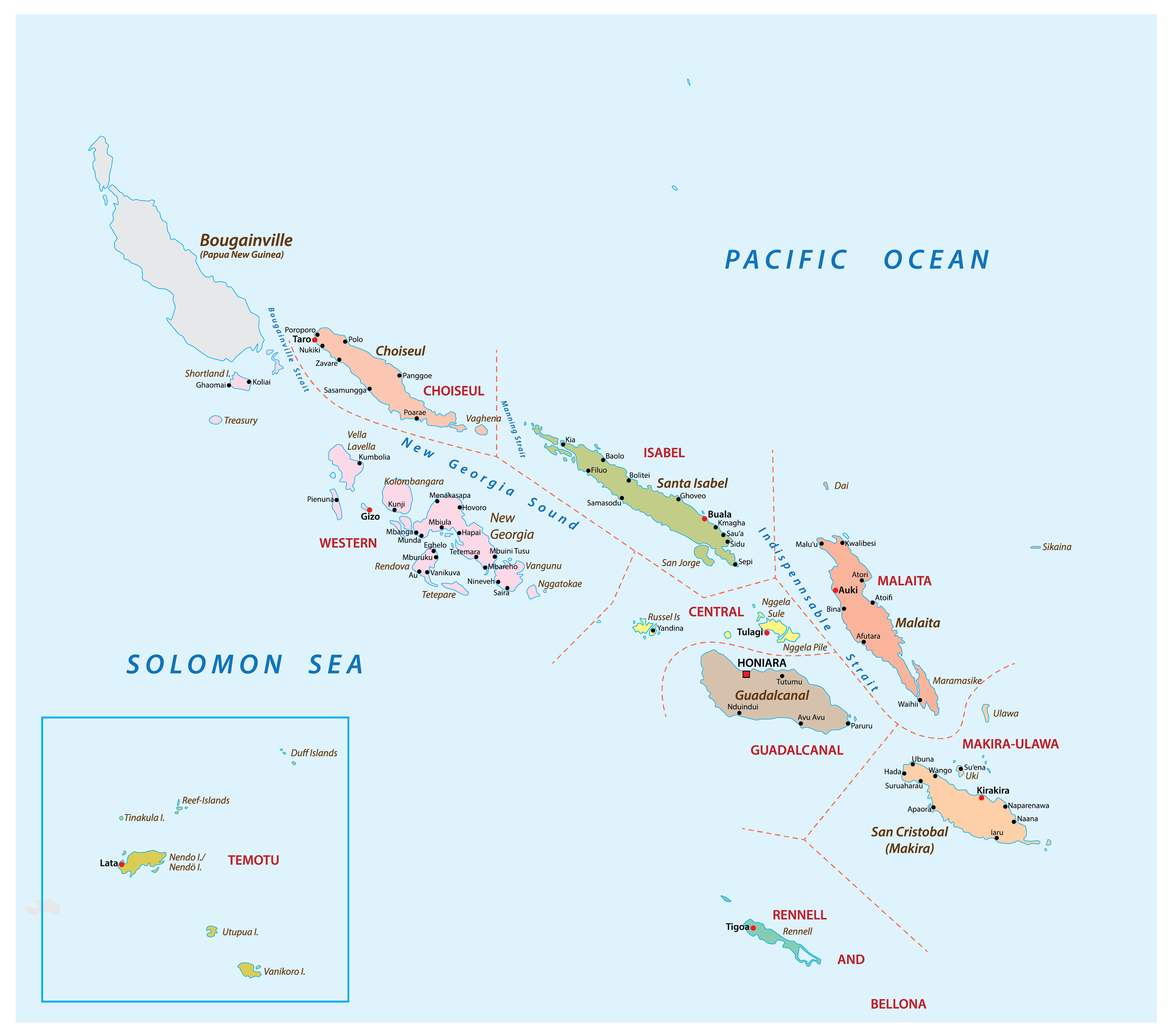 Political Map of Solomon Islands showing its 9 provinces and the capital city Honiara