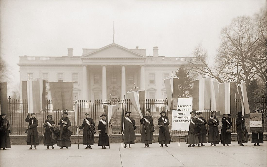 Members of the National Women's Party demonstrating at the White House in 1918.