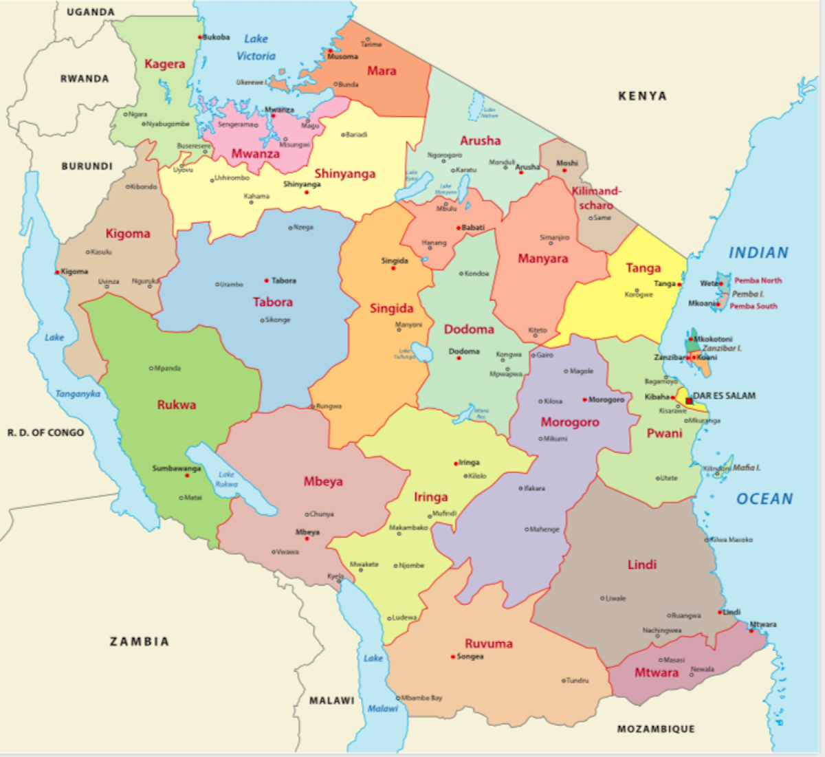 Political Map of Tanzania displaying its 31 regions and their capital cities, and the national capital of Dodoma.