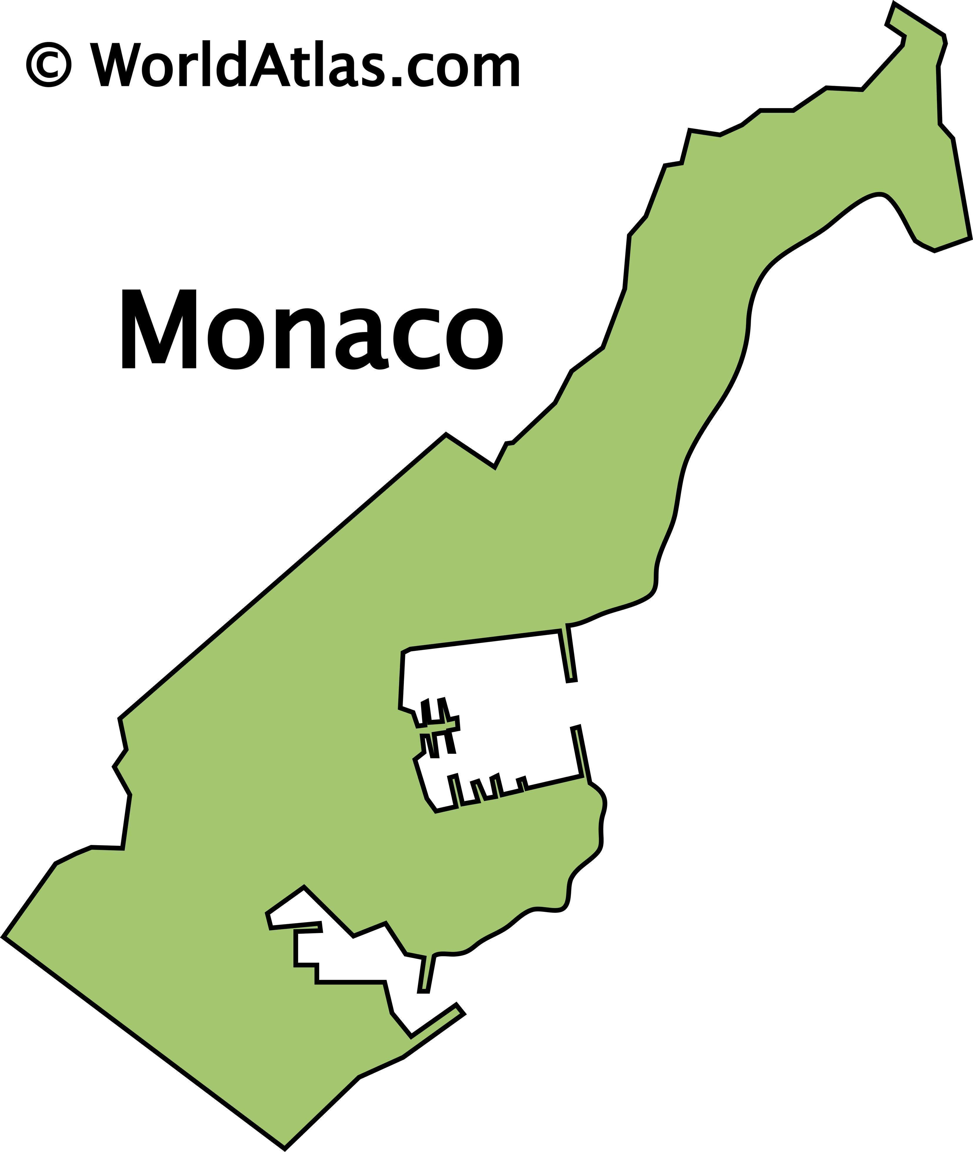 Outline Map of Monaco