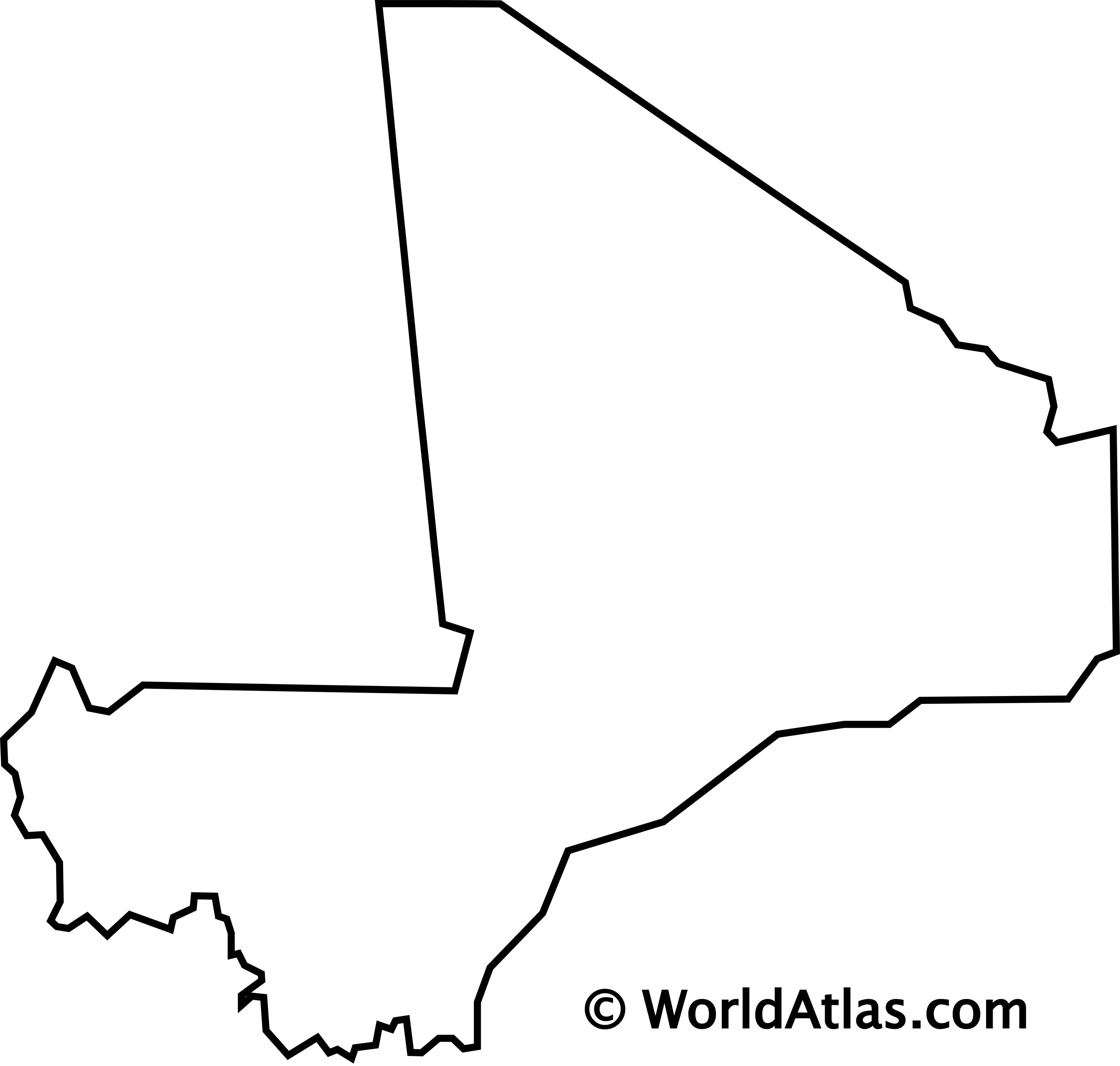 Blank Outline Map of Mali