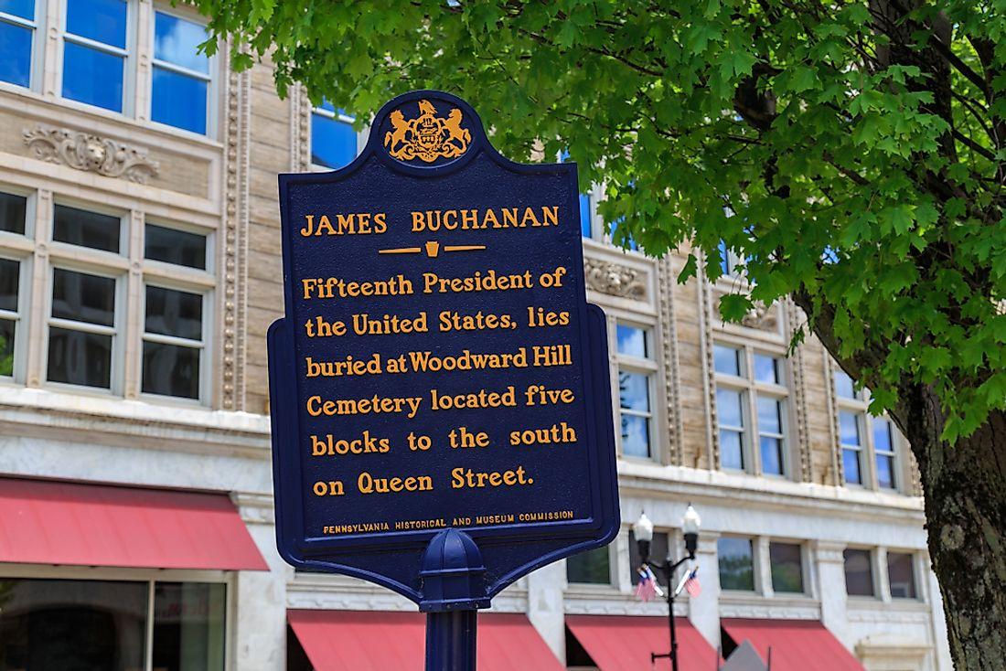 A plaque commemorating James Buchanan in Lancaster, PA. Editorial credit: George Sheldon / Shutterstock.com.