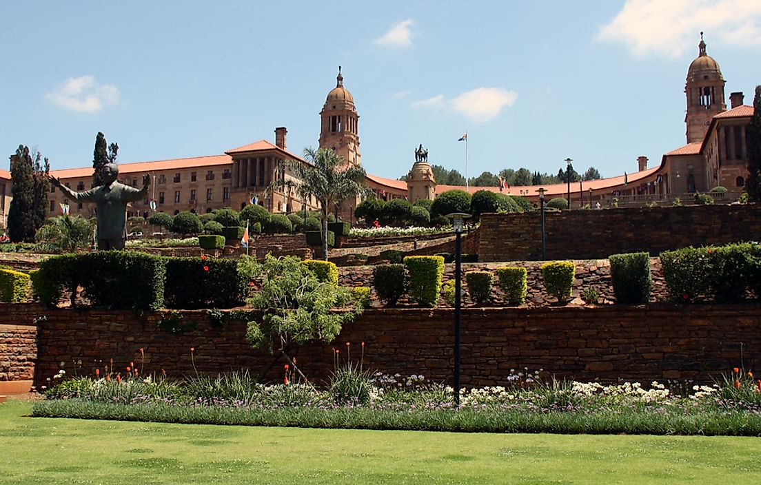 Government palace shown in Pretoria, South Africa.