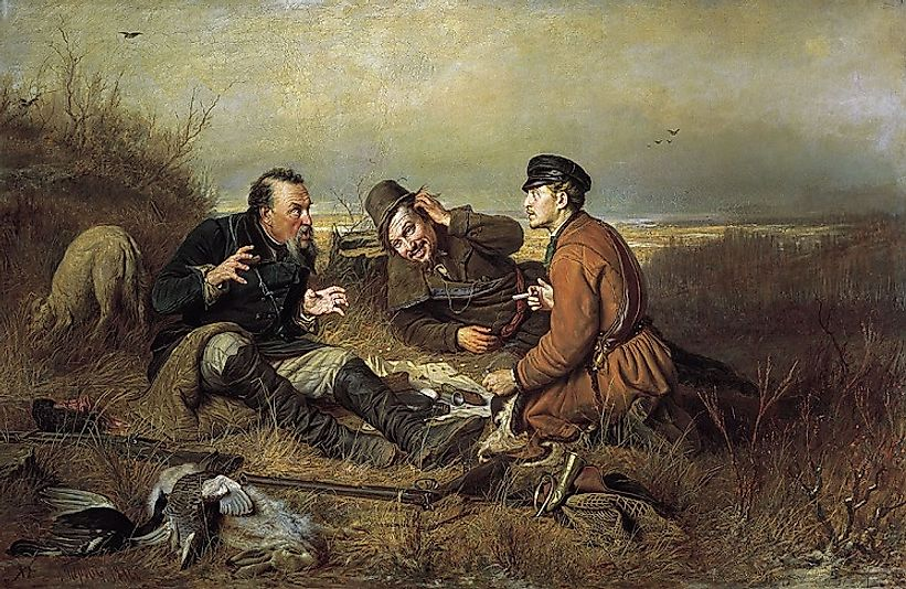 "Vasily Perov's 1871 painting ""The Hunters at Rest""."