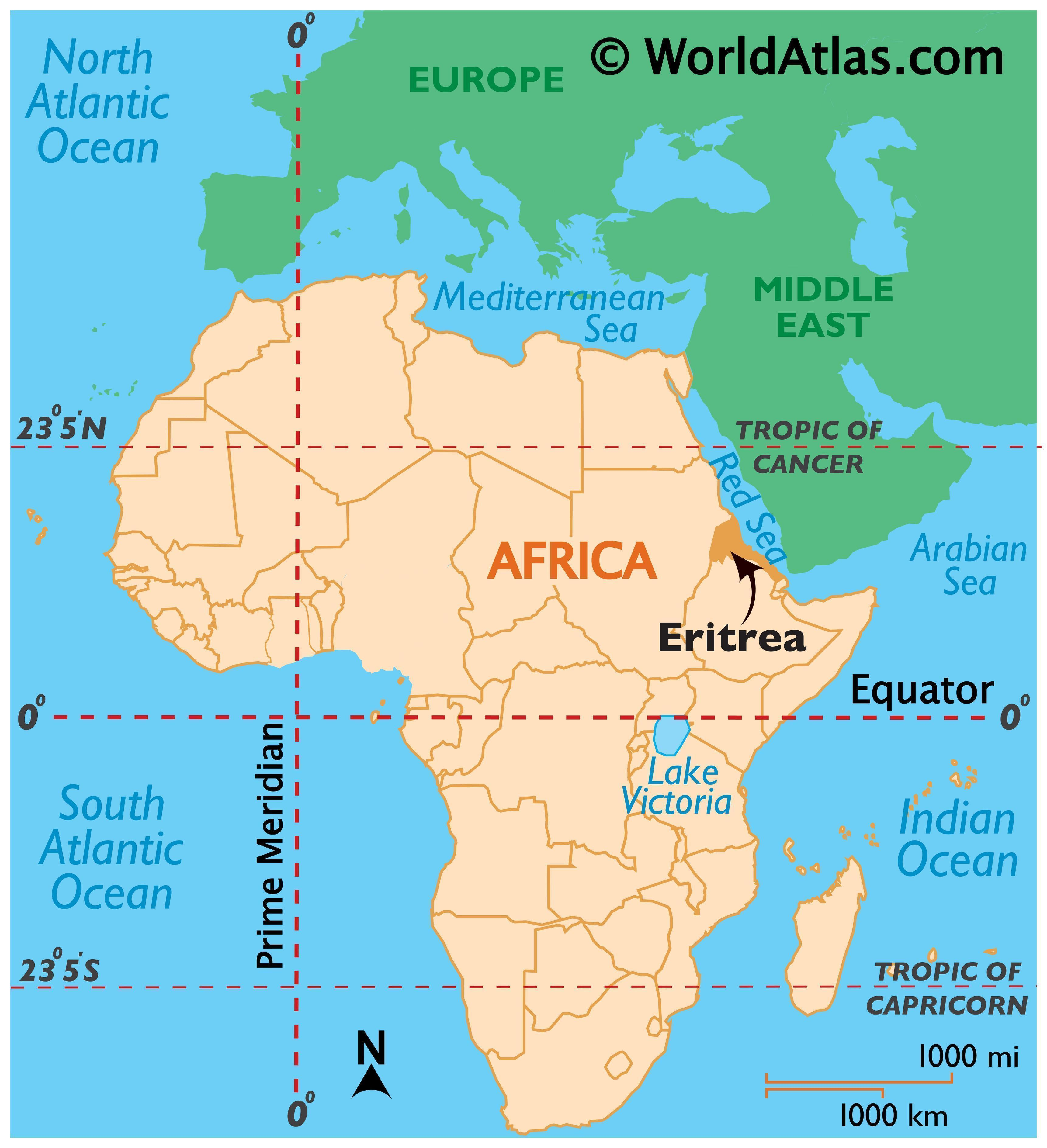 Map showing location of Eritrea in the world.