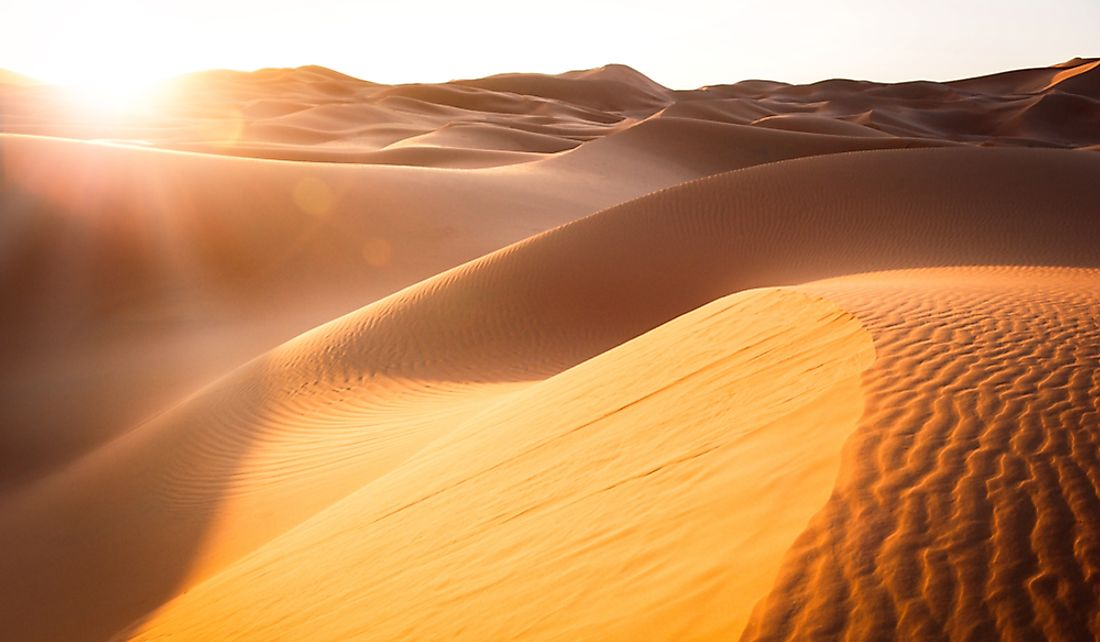The Sahara Desert can reach extremely high temperatures due to the abundance of sunshine.