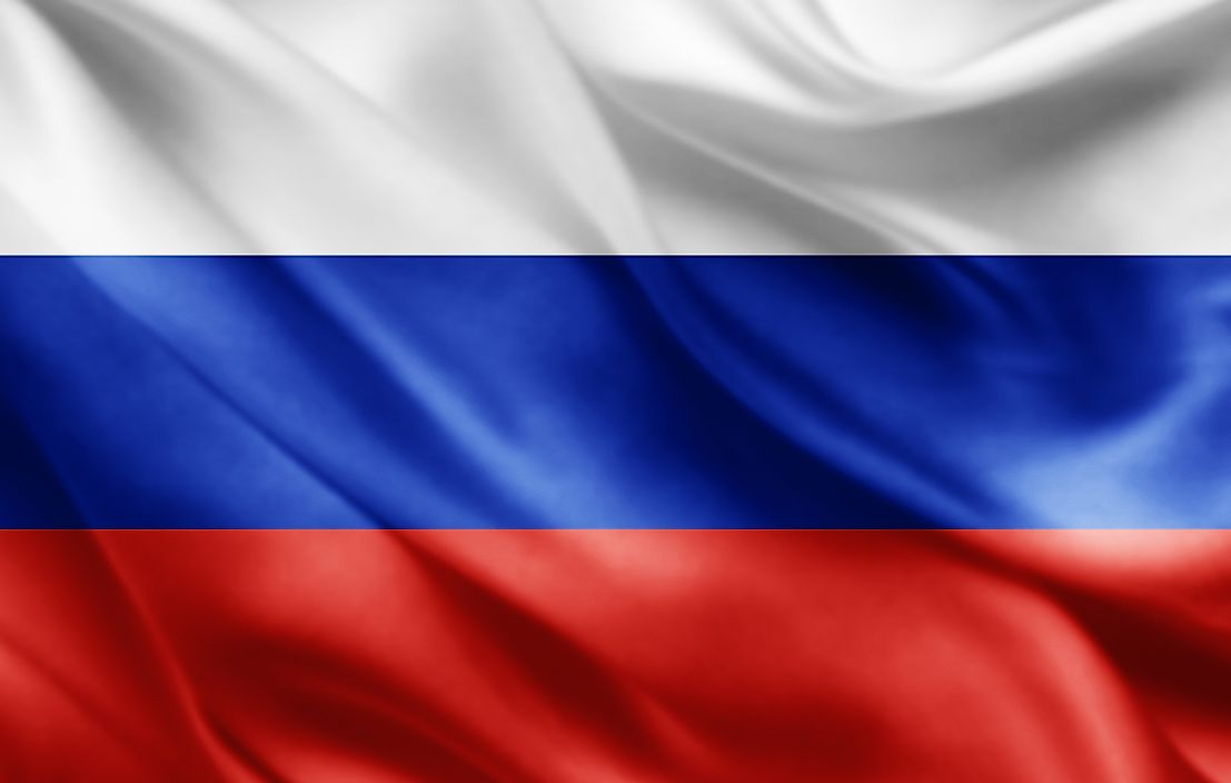 The flag of Russia.