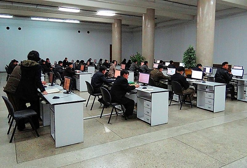 Students use the internal networks of Kwangmyong in North Korea. For most, global Internet use is an illegal act there.