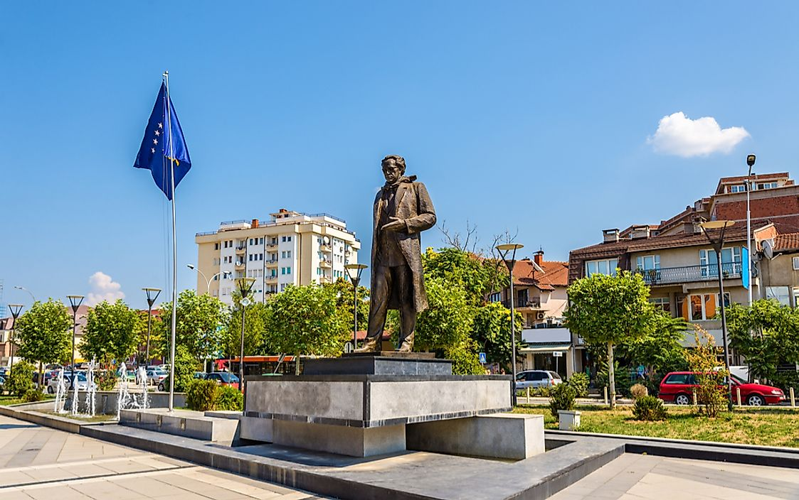 A statue of Ibrahim Rugova stands in Pristina, Kosovo. Rugova was the first president of Kosovo.