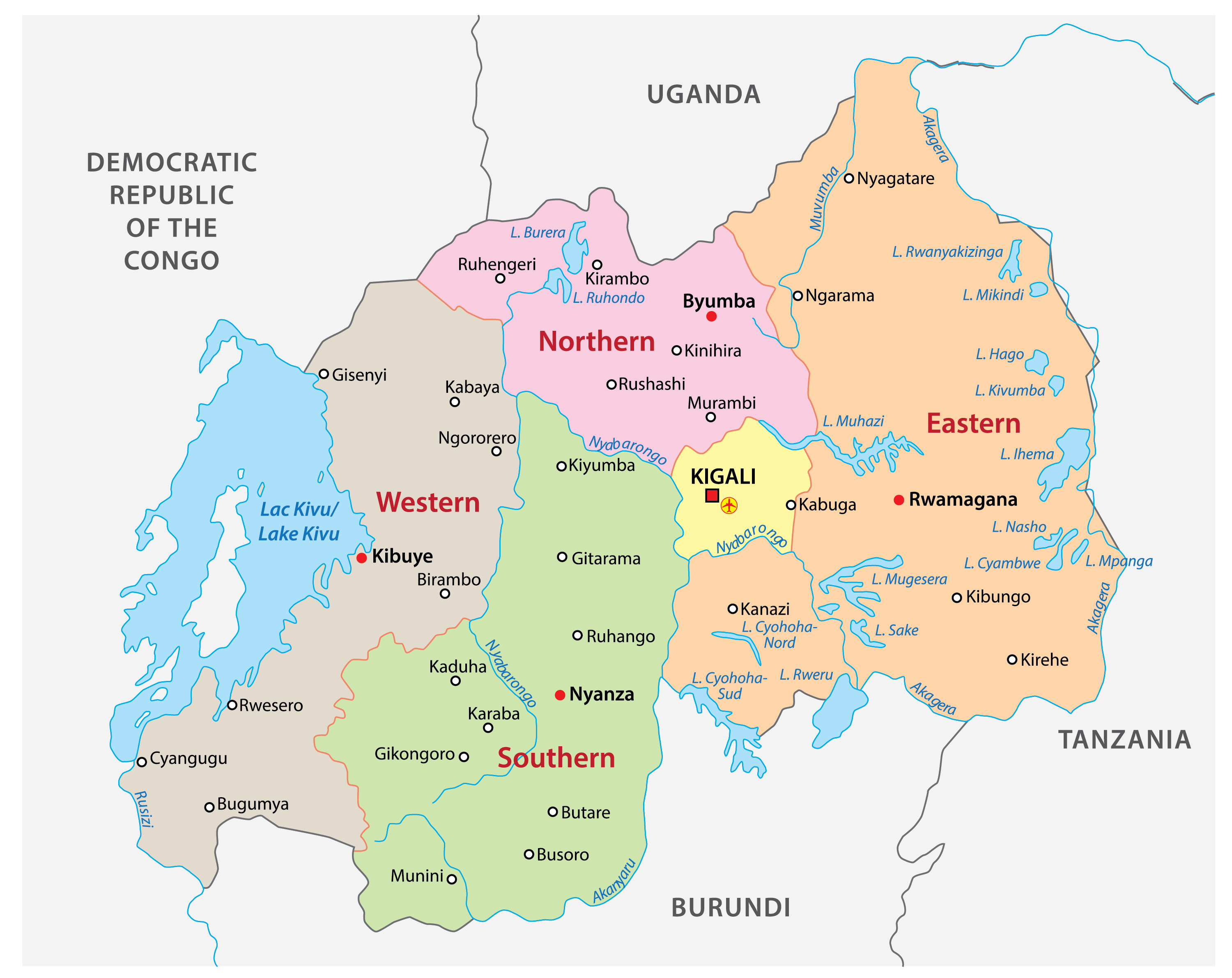 Political Map of Rwanda displaying its five provinces, their capital cities, and the national capital of Kigali City.
