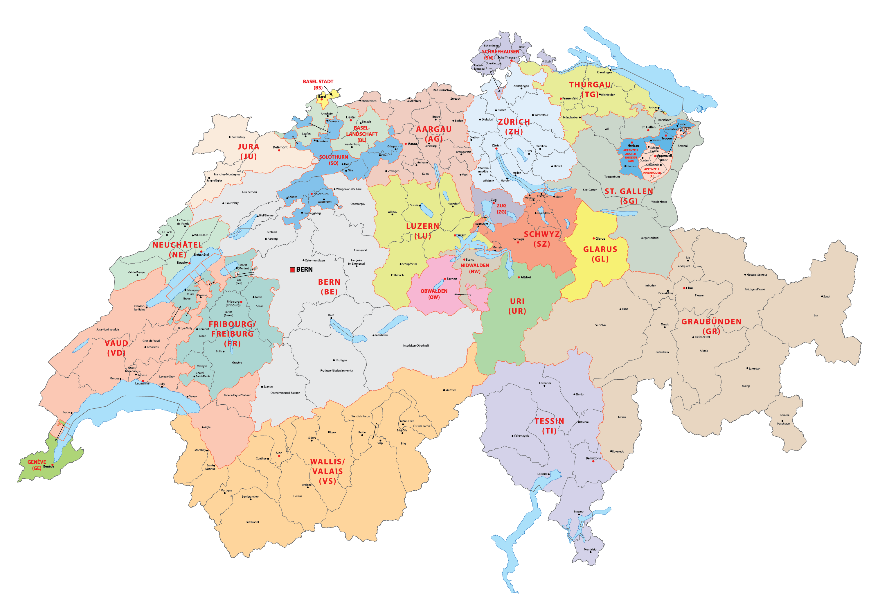 Political Map of Switzerland showing 26 cantons and the capital city of Bern