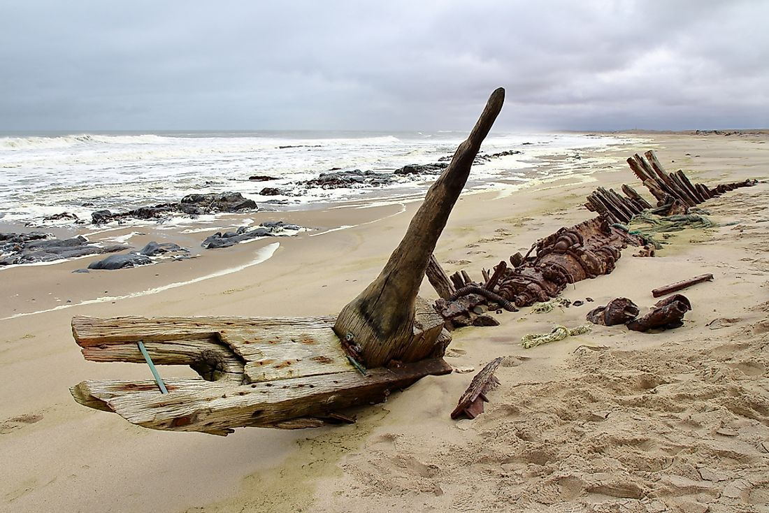Shipwrecks on the Skeleton Coast, Namibia.