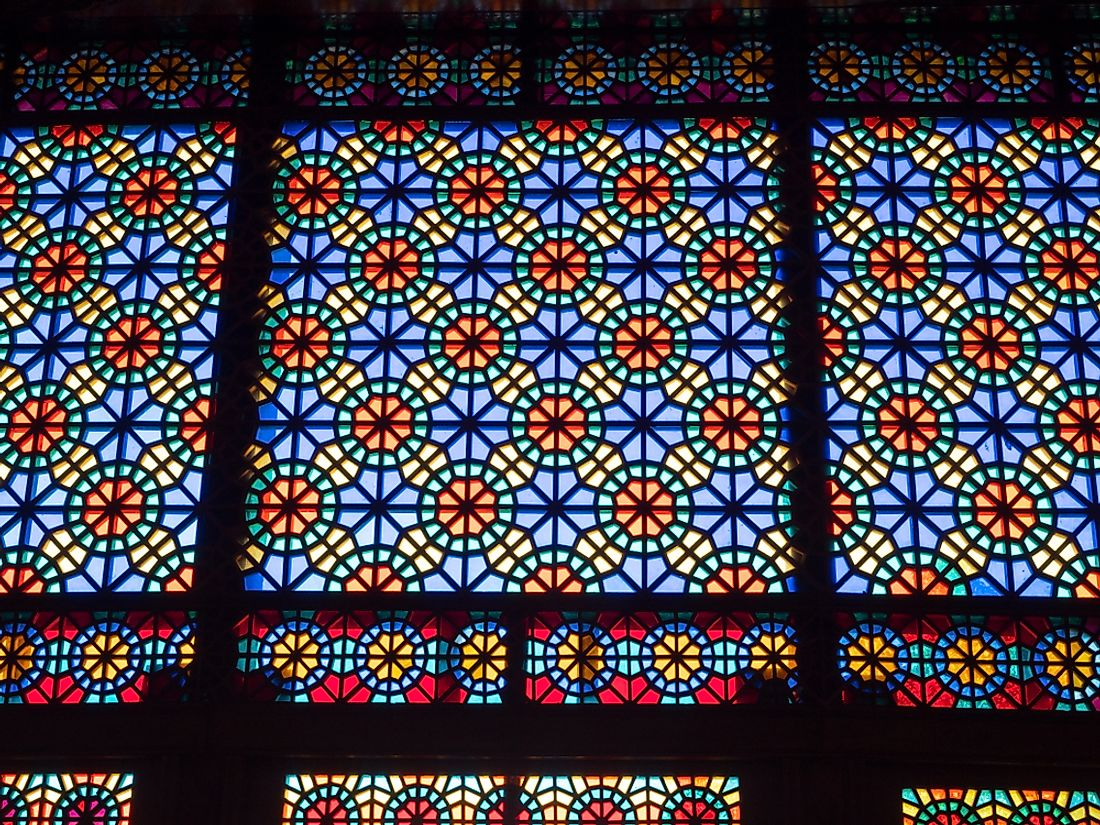 Stained glass windows of the Sheki Khan's Palace, the newest UNESCO World Heritage Site in Azerbaijan. Editorial credit: silverfox999 / Shutterstock.com.