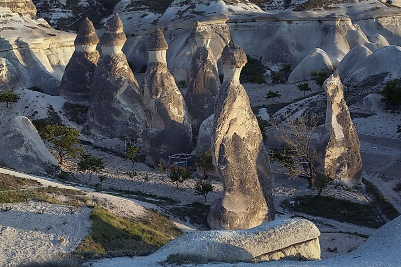 Unique fairy chimney hoodoos in Cappadocia in Turkey.