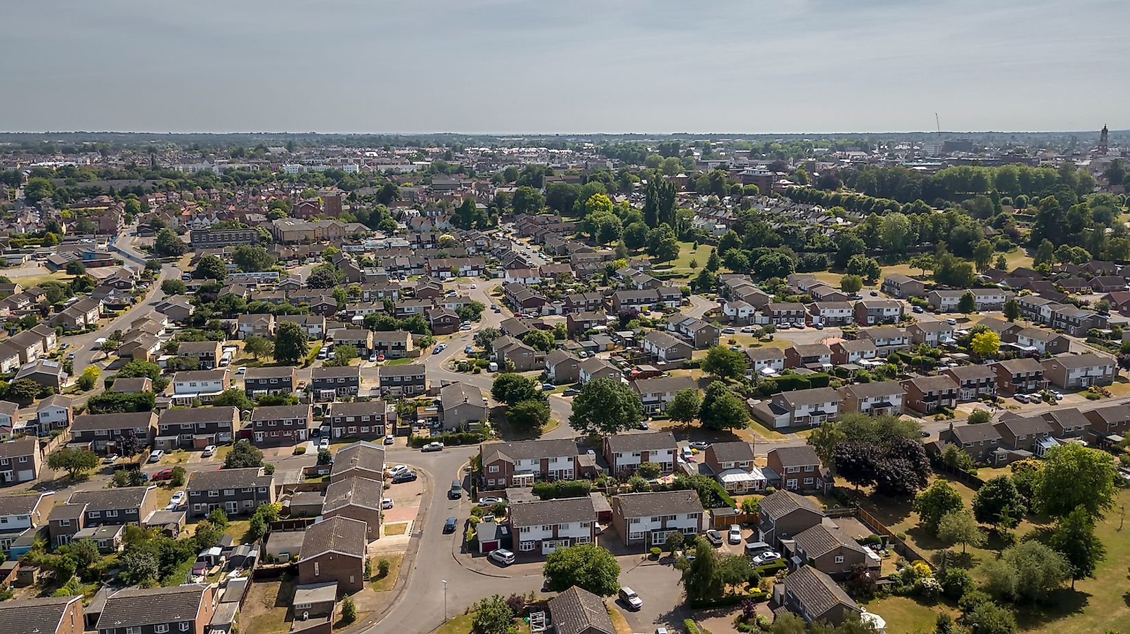 Aerial view of Colchester Riverside suburban residential area, Colchester, Essex, England, UK. Image credit