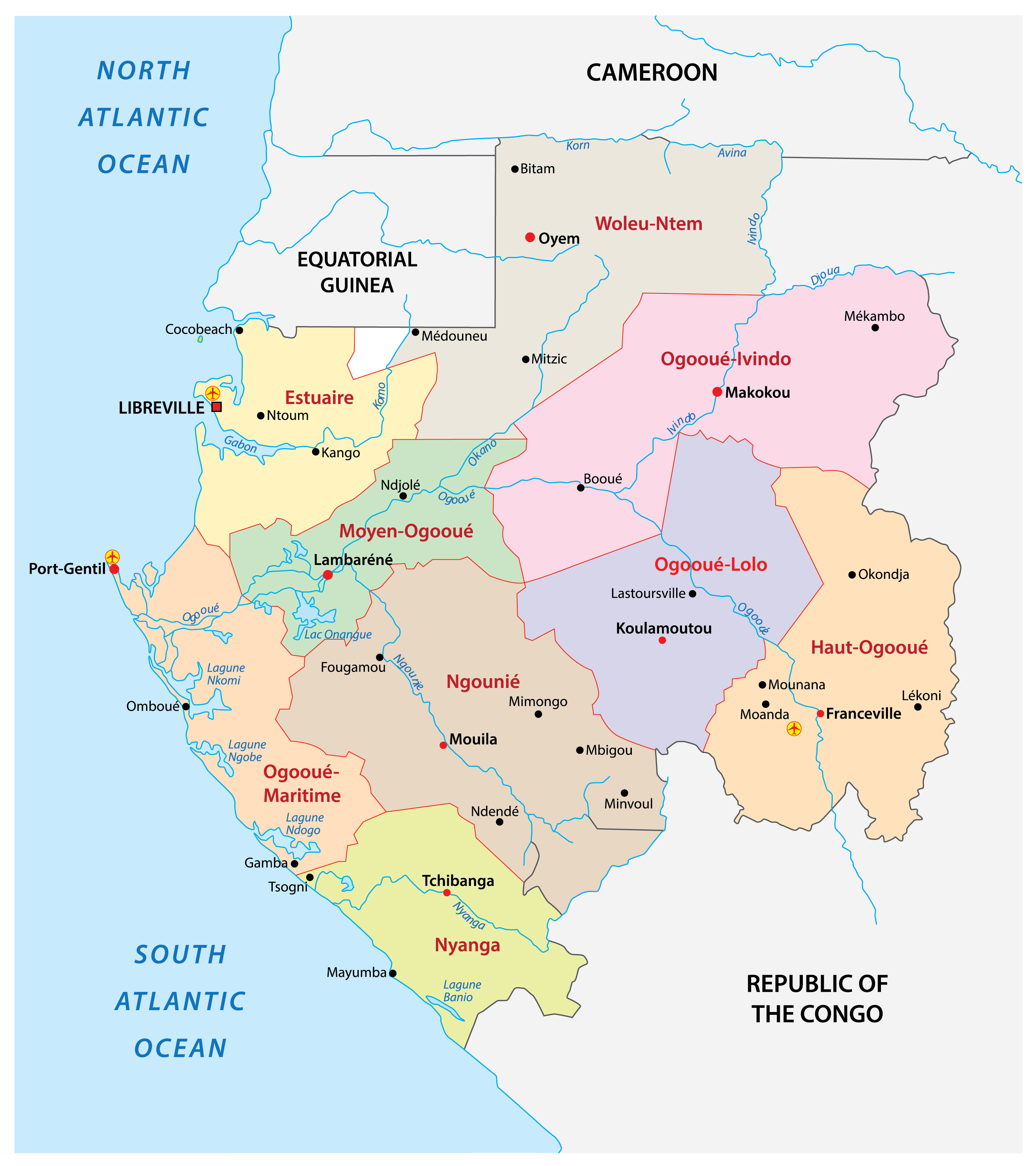 Political Map of Gabon showing the nine provinces, their capitals, and the national capital of Libreville.