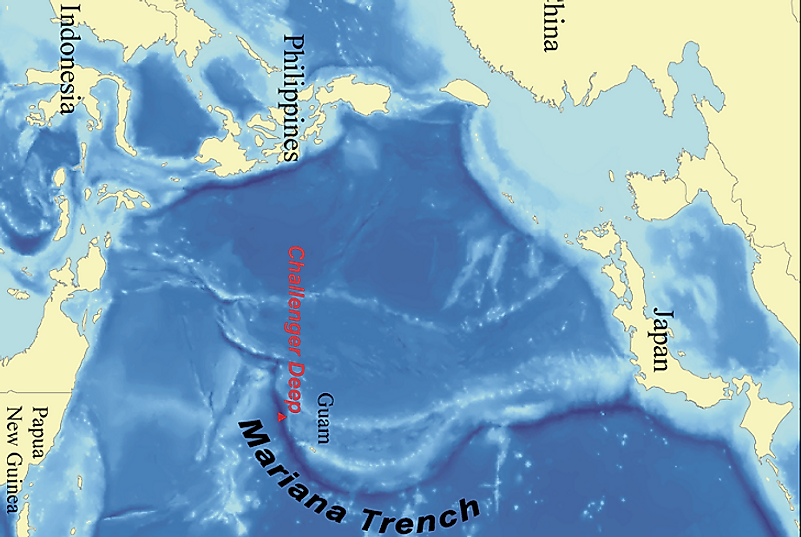 Geographic location of the Mariana Trench and Challenger Deep.