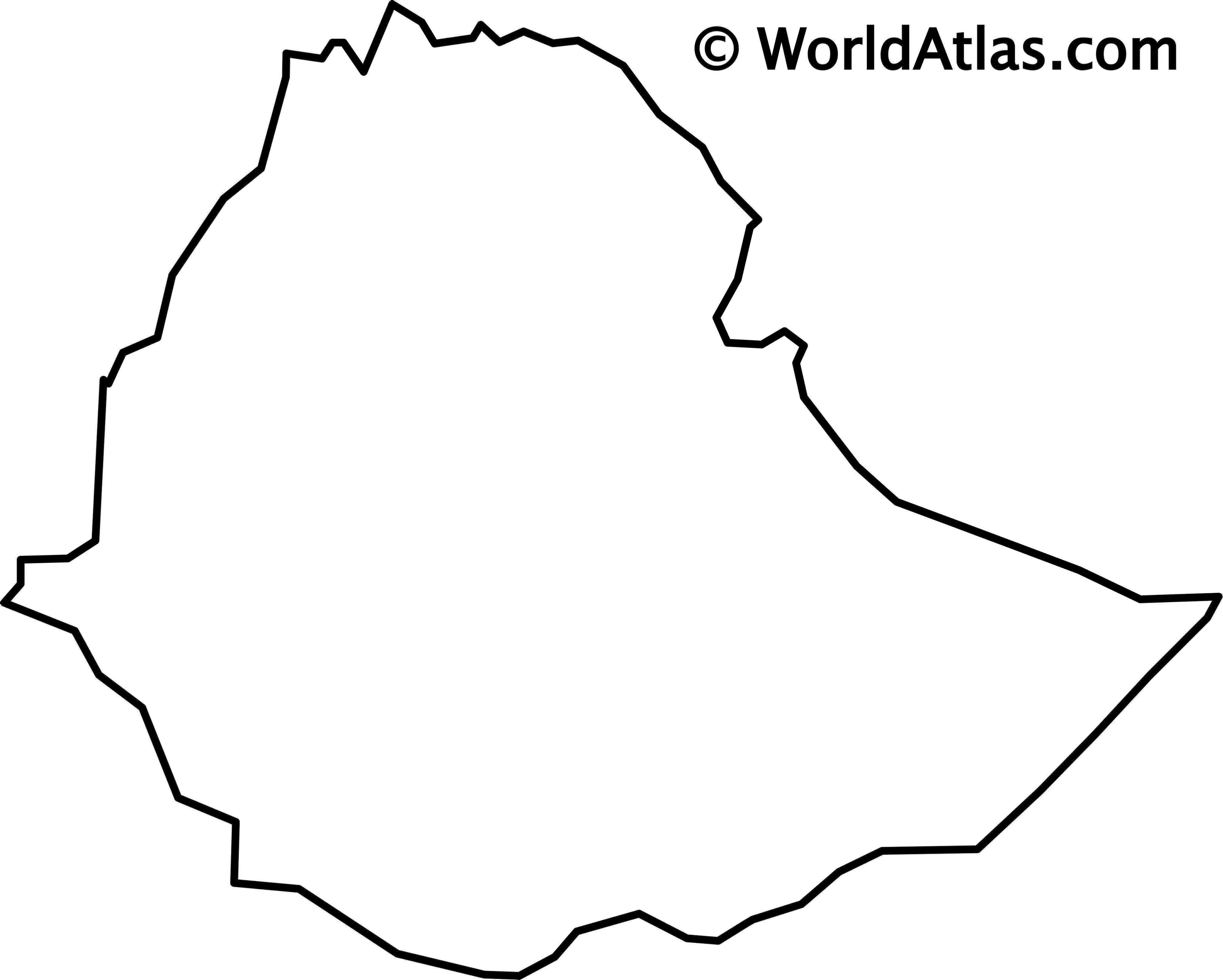 Blank Outline Map of Ethiopia