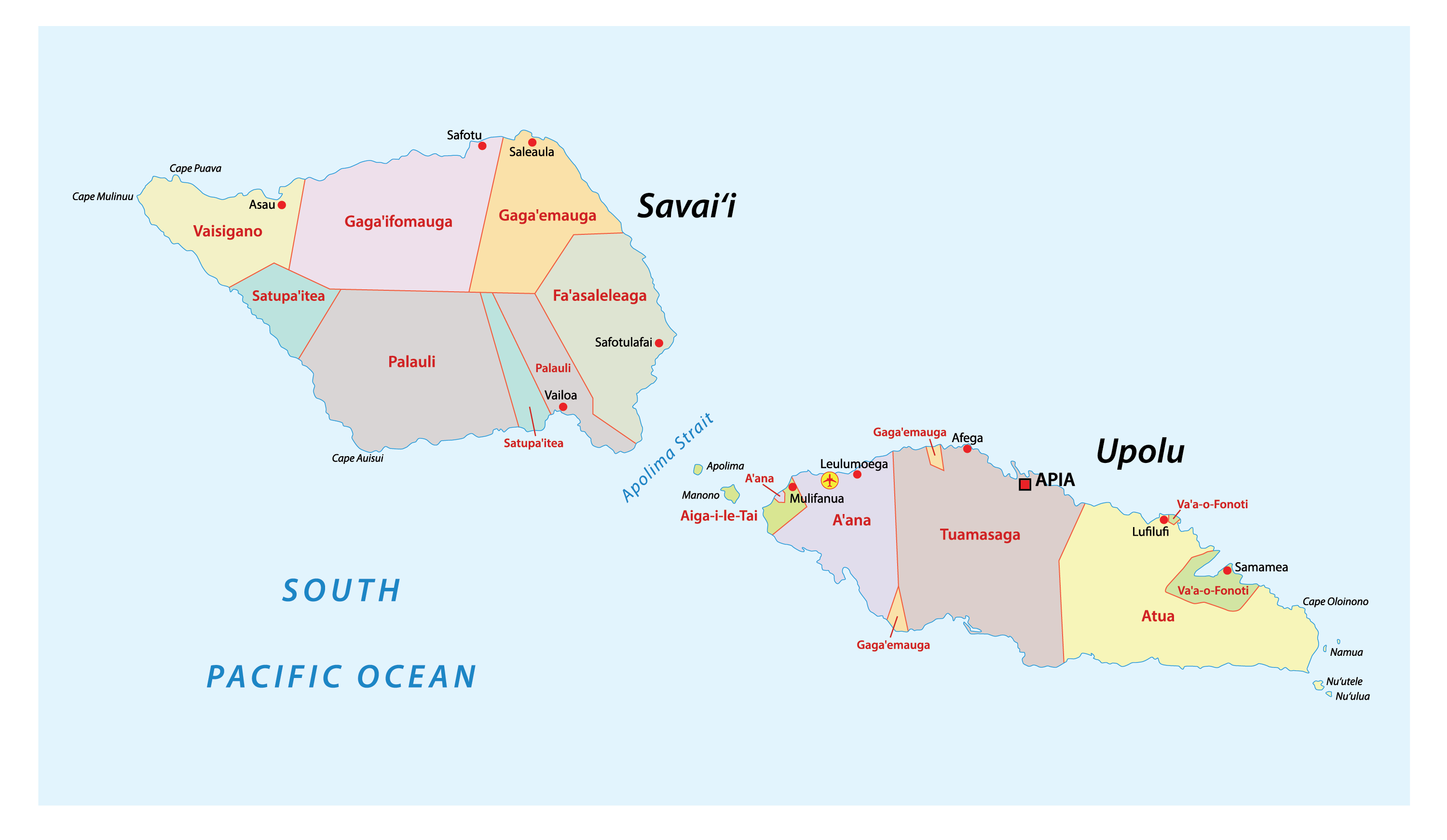Political Map of Samoa showing its 11 districts and the capital Apia
