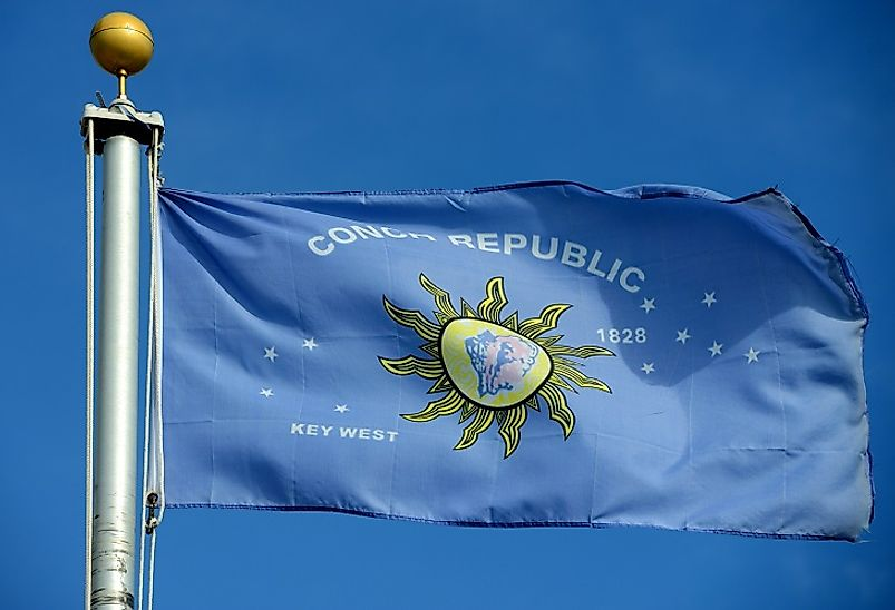 Flag of the Conch Republic in Key West, Florida. Motto: We Seceded Where Others Failed.