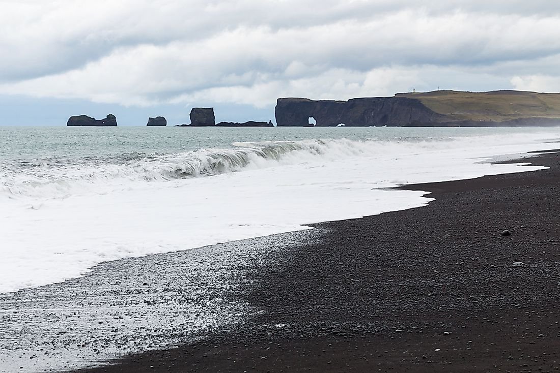 Iceland's Katla Geopark is popular for its black sandy beaches.