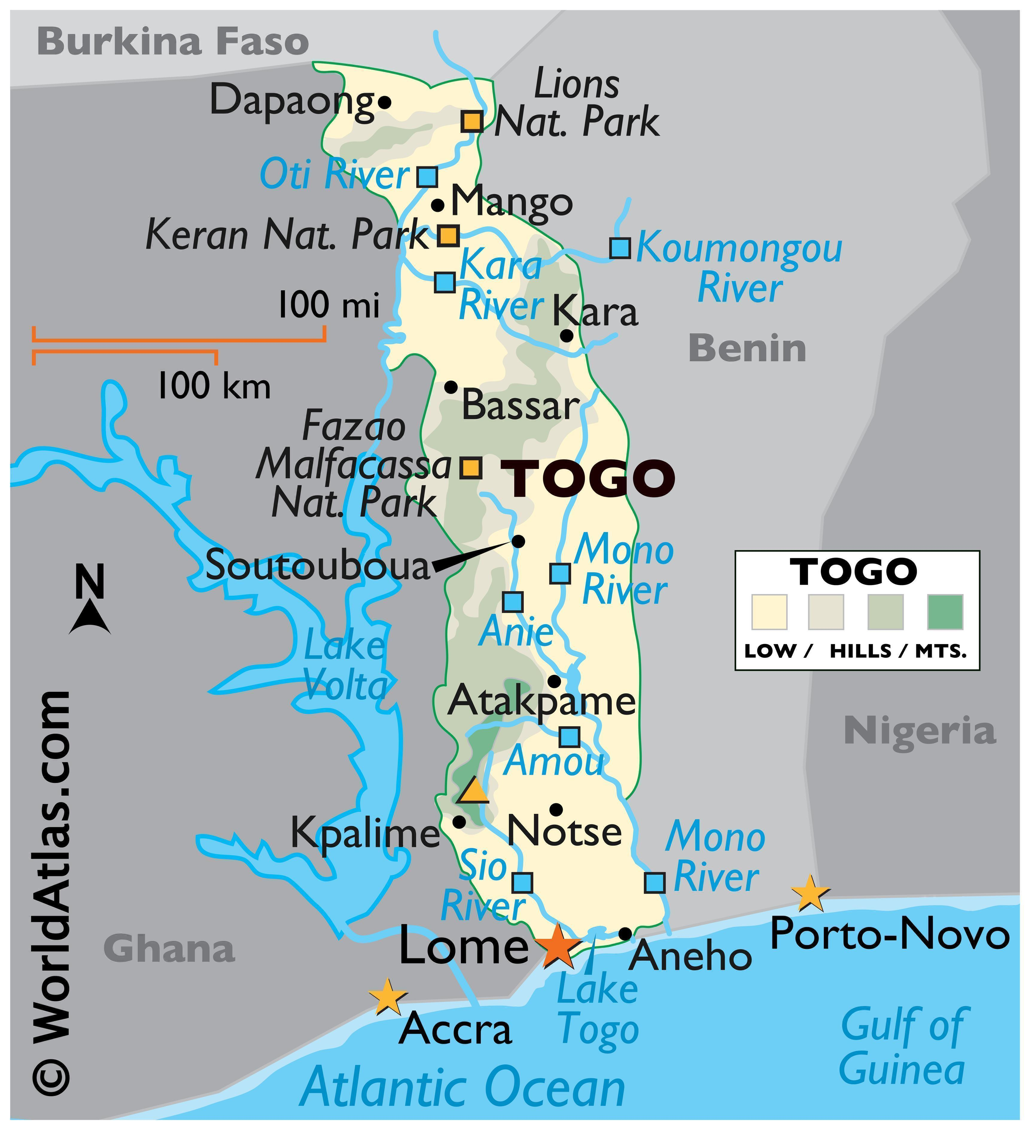 Phyiscal Map of Togo with state boundaries. It shows the physical features of Togo including terrain, mountains, rivers, and major lakes.