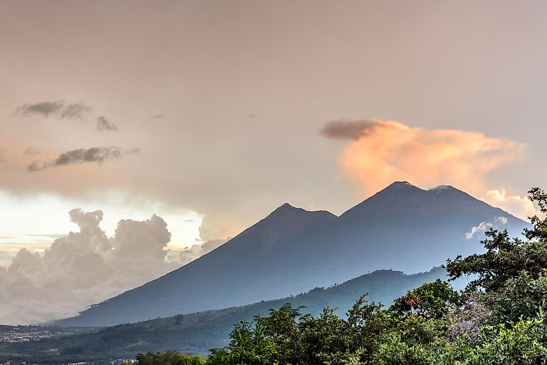 The Fuego and Acatenango volcanoes in Guatemala, Central America.