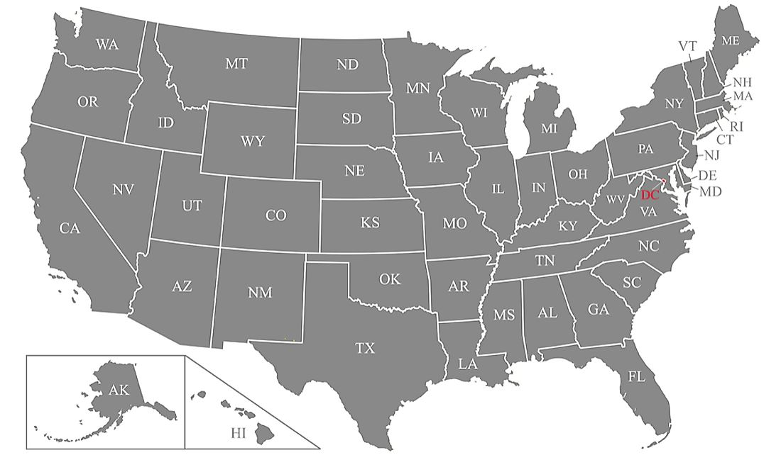 Map showing the US state abbreviations.