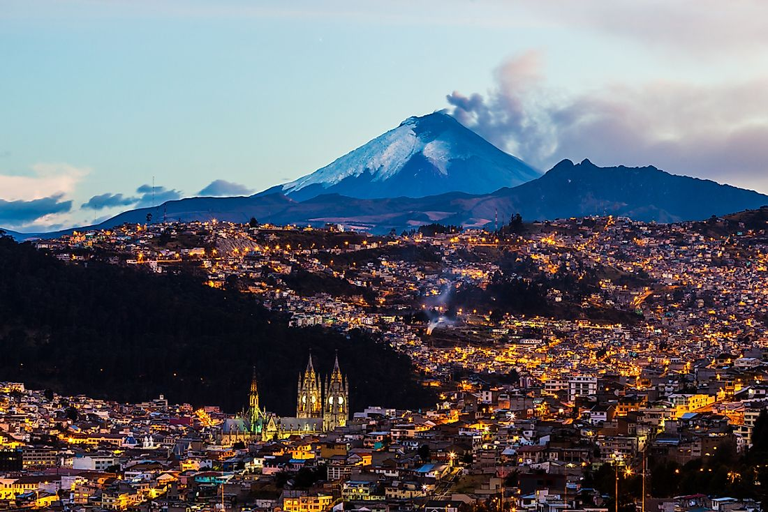 View of Quito, Ecuador with the Cotopaxi Volcano in the background.