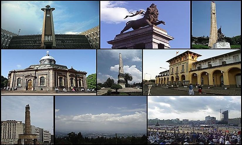 The important sites and symbols of Addis Ababa, the biggest city in Ethiopia.