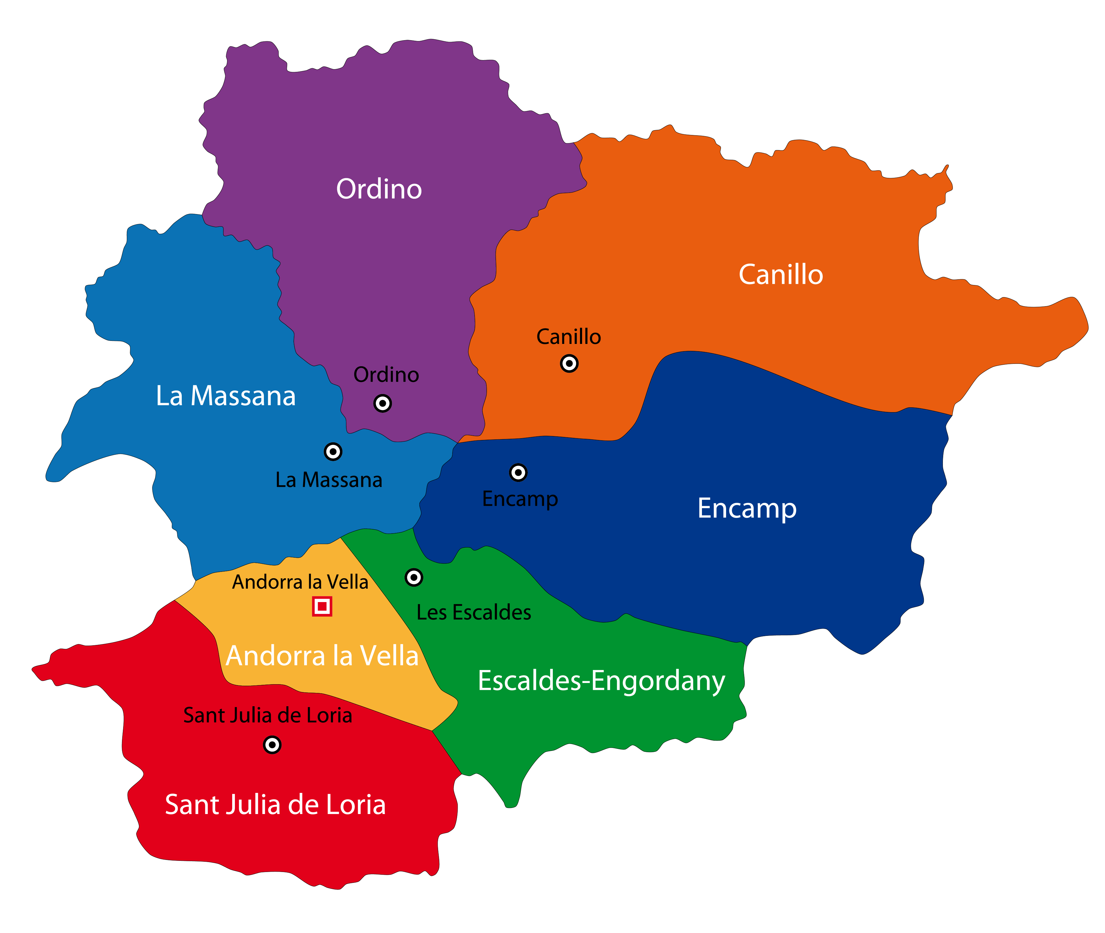 Political Map of Andorra showing its 7 parishes and the capital city of Andorra la Vella