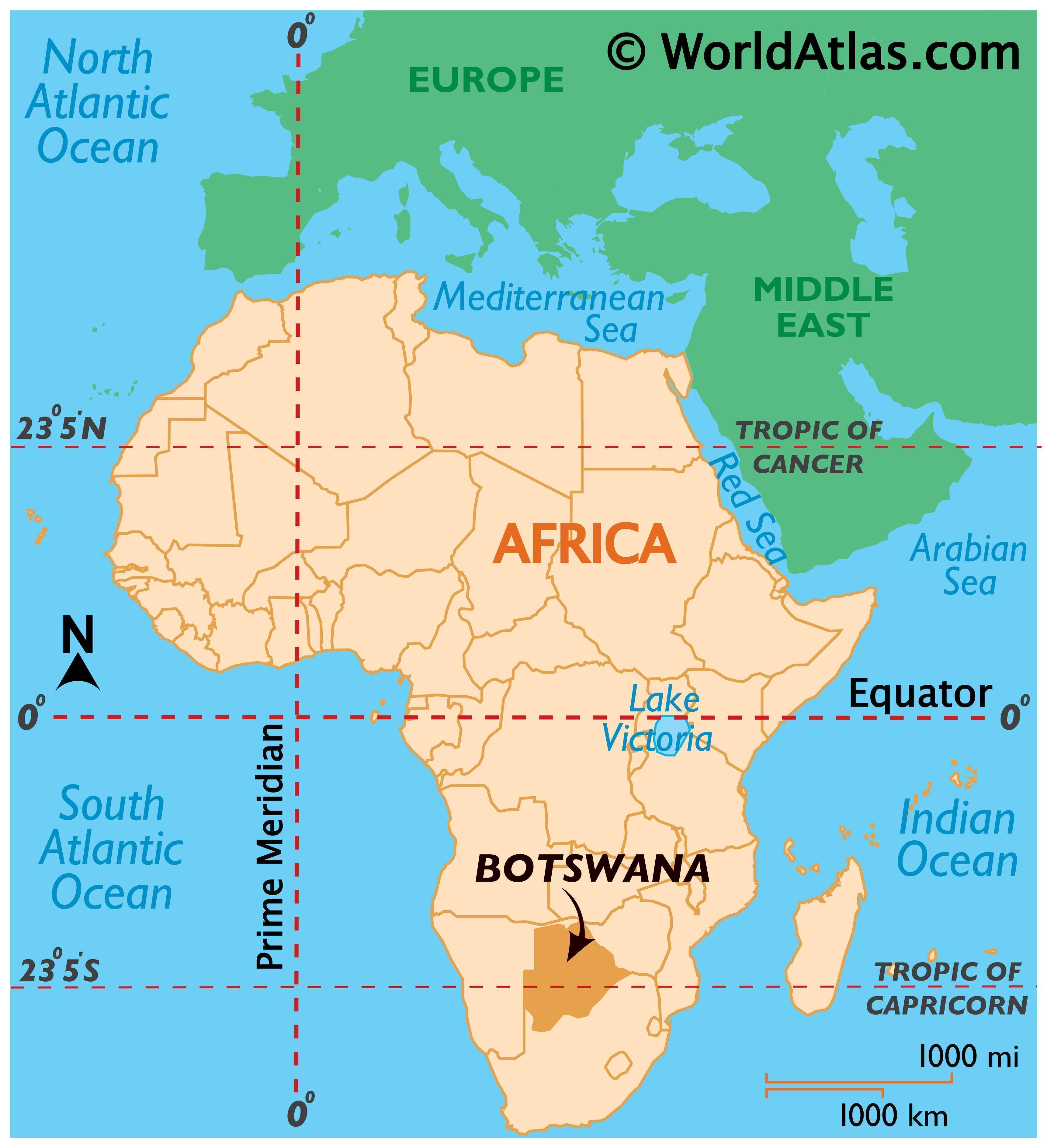 Map showing location of Botswana in the world.