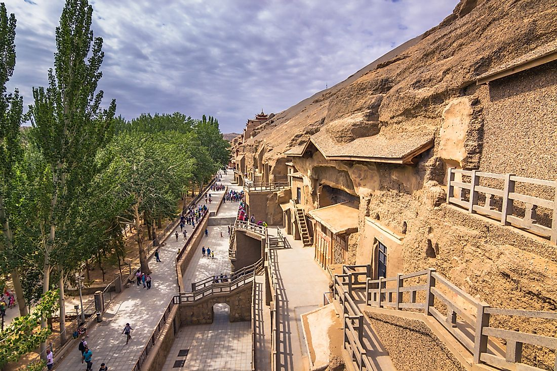 The Mogao Caves were designated as a UNESCO World Heritage Site in 1987. Editorial credit: RPBaiao / Shutterstock.com