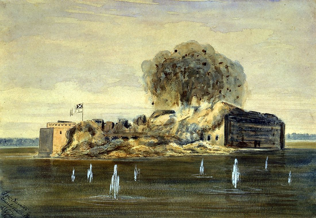 The Civil War, exterior view of Fort Sumter, a Confederate flag flying as the fort explodes, South Carolina, by A. Vizitelly, 1863.