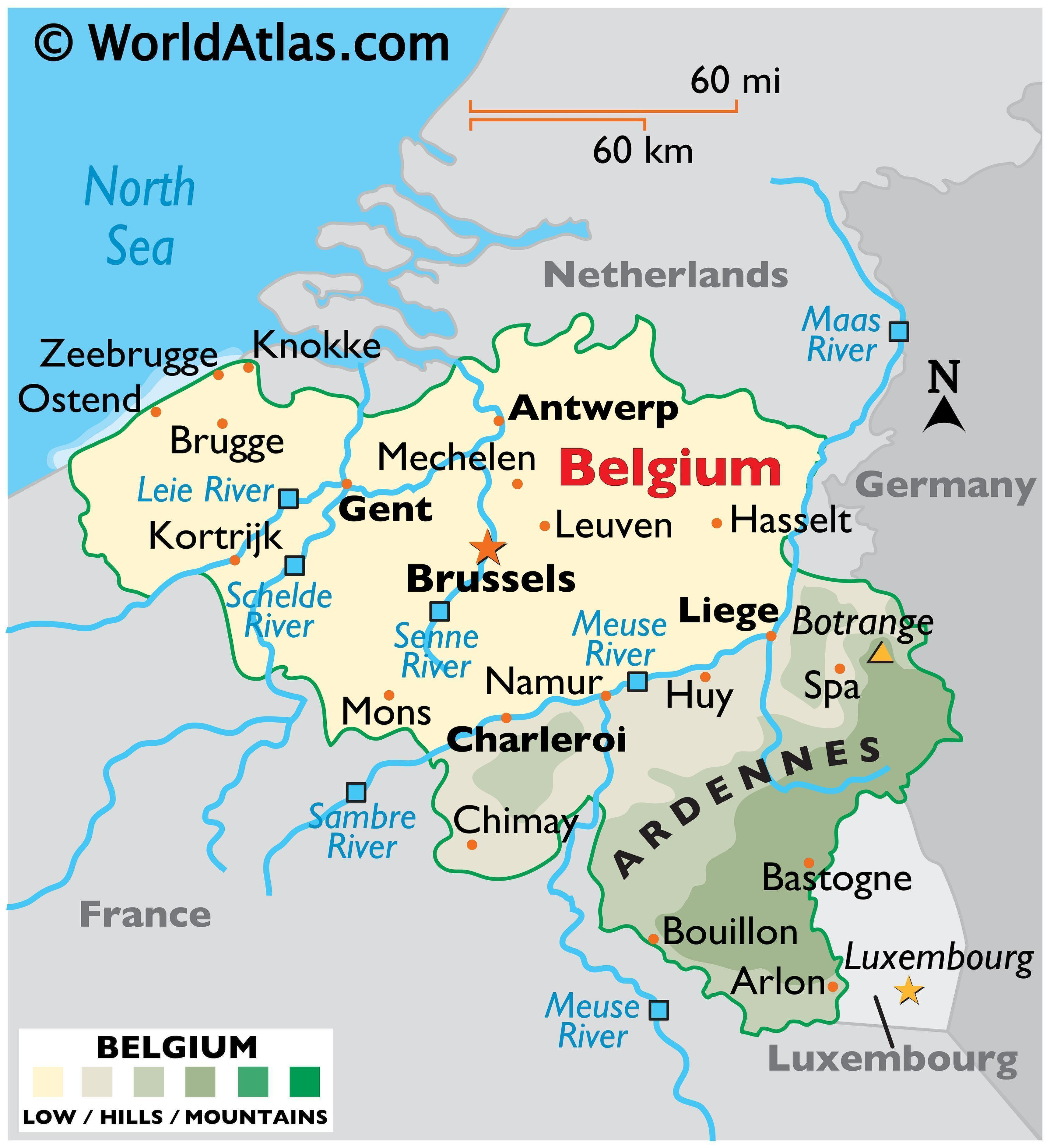 Physical Map of Belgium showing terrain, mountains, extreme points, islands, rivers, major cities, international boundaries, etc.