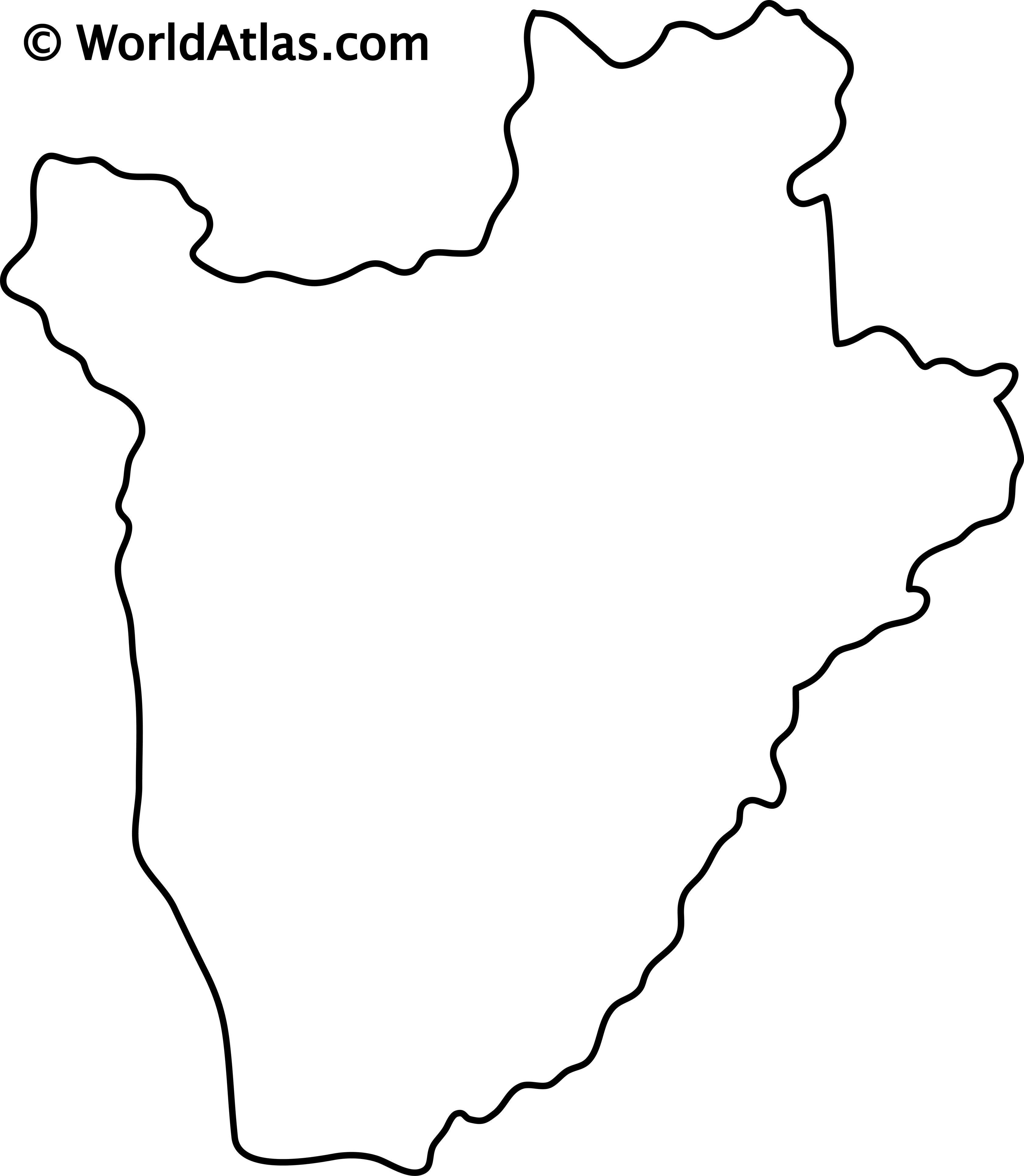 Blank outline map of Burundi